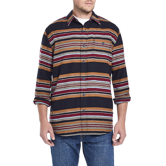 American Threads Mens Long Sleeve Striped Button-Front Shirt