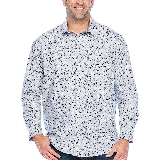 Claiborne Big and Tall Mens Long Sleeve Plaid Button-Down Shirt