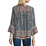 Artesia Womens Keyhole Neck Long Sleeve Blouse