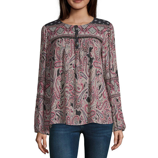 Artesia Womens Crew Neck Long Sleeve Blouse