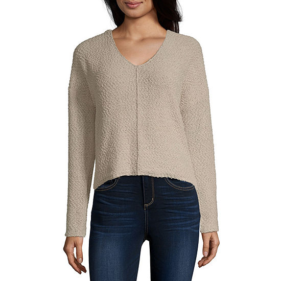 Rewind Womens V Neck Long Sleeve Pullover Sweater