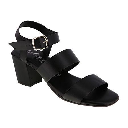 Italiana By Italian Shoemakers Womens Melinda Heeled Sandals, 7 1/2 Medium, Black