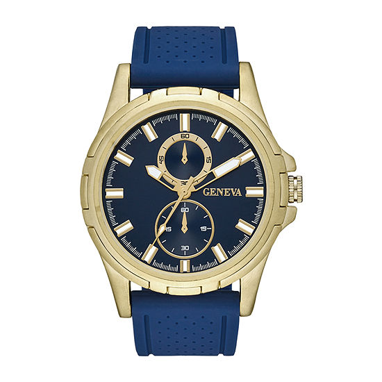 Geneva Mens Blue Strap Watch-Fmdjm598