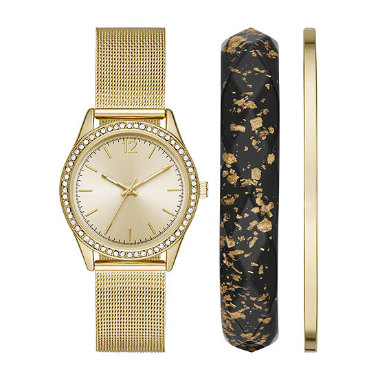 Geneva Womens Crystal Accent Gold Tone Stainless Steel 3-pc. Watch Boxed Set-Fmdjset041