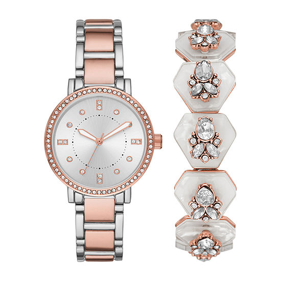 Geneva Womens Crystal Accent Two Tone 2-pc. Watch Boxed Set-Fmdjset043