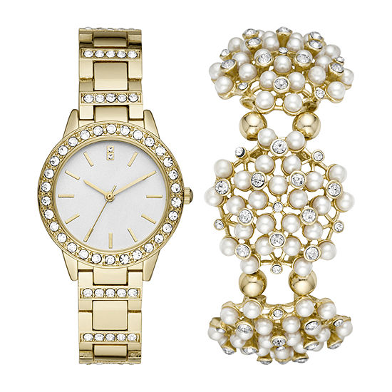 Geneva Womens Crystal Accent Gold Tone Watch Boxed Set-Fmdjset044