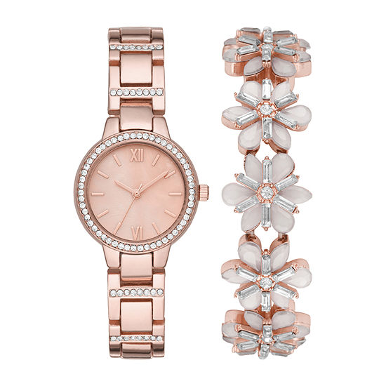 Geneva Womens Crystal Accent Rose Goldtone 2-pc. Watch Boxed Set-Fmdjset045