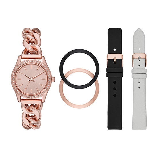 Mixit Womens Crystal Accent Rose Goldtone 5-pc. Watch Boxed Set-Fmdjset300