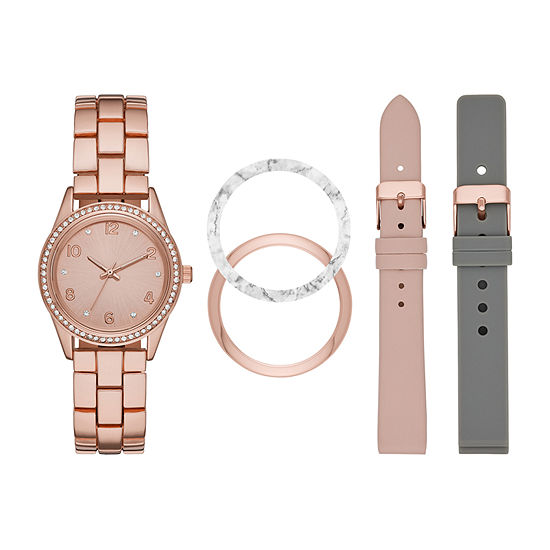Mixit Womens Crystal Accent Rose Goldtone 5-pc. Watch Boxed Set-Fmdjset301