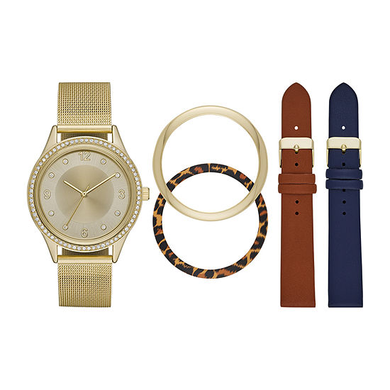 Mixit Womens Crystal Accent Gold Tone 5-pc. Watch Boxed Set-Fmdjset302