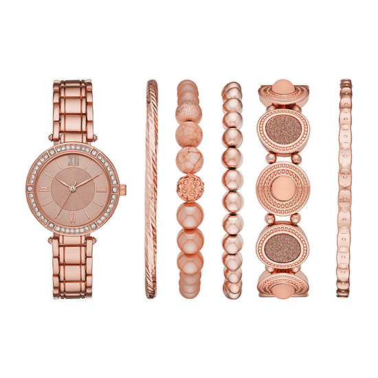 Mixit Womens Crystal Accent Rose Goldtone 6-pc. Watch Boxed Set-Fmdjset304