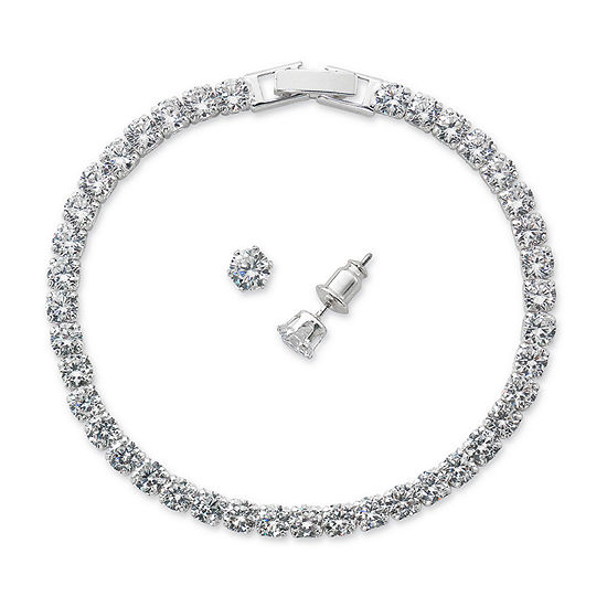 Sparkle Allure 2-pc. Cubic Zirconia Pure Silver Over Brass 18 Inch Box Round Bracelet Set
