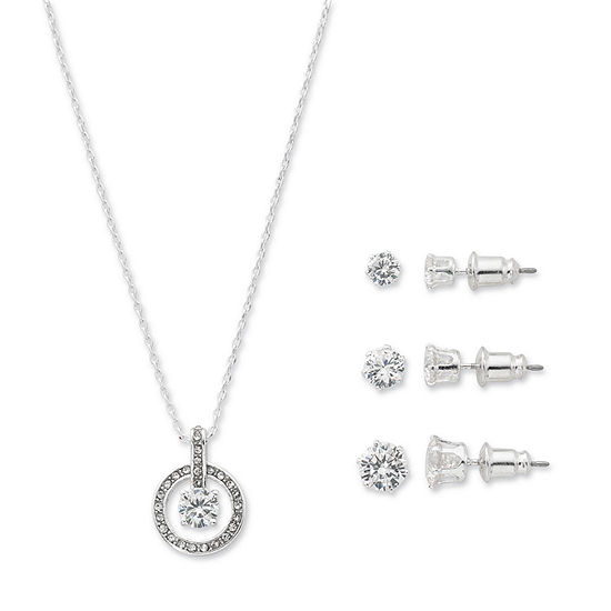 Sparkle Allure 2-pc. Cubic Zirconia Pure Silver Over Brass Round Jewelry Set