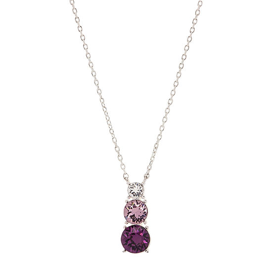 Sparkle Allure Pure Silver Over Brass Pink Crystal Cable Pendant Made With Swarovski Elements