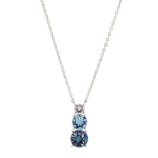 City X City City Rocks Blue Stone Pure Silver Over Brass Cable Round Pendant Necklace