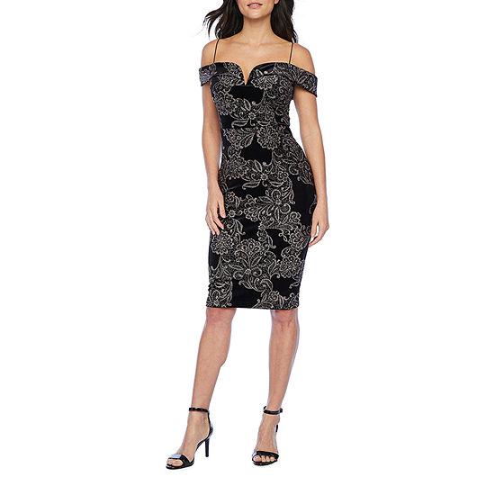Premier Amour Cold Shoulder Floral Glitter Velvet Sheath Dress