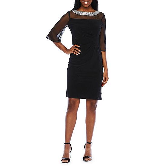 R & M Richards 3/4 Sleeve Embellished Sheath Dress