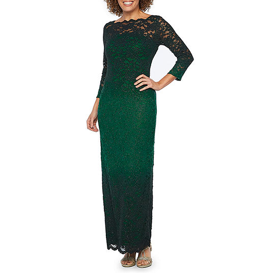 Onyx 3/4 Sleeve Ombre Lace Evening Gown