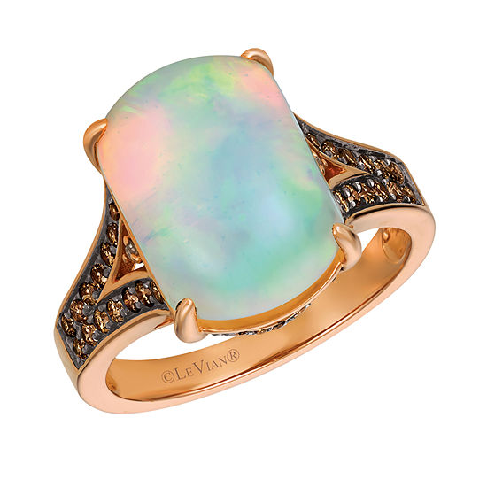 Le Vian Grand Sample Sale™  Ring featuring Neopolitan Opal™ Chocolate Diamonds® and Vanilla Diamonds® all set in 14K Strawberry Gold®