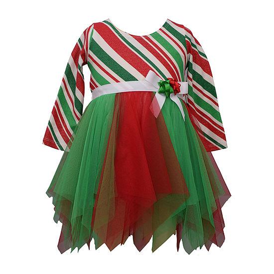 Bonnie Jean Christmas Girls Long Sleeve Tutu Dress - Baby