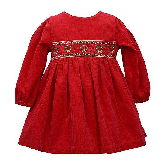 Bonnie Jean Christmas Girls Long Sleeve A-Line Dress - Baby