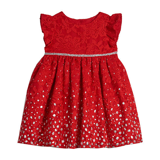 Marmellata Holiday Girls Short Sleeve Floral A-Line Dress - Baby