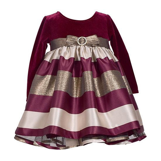 Bonnie Jean Girls Long Sleeve Striped A-Line Dress - Baby