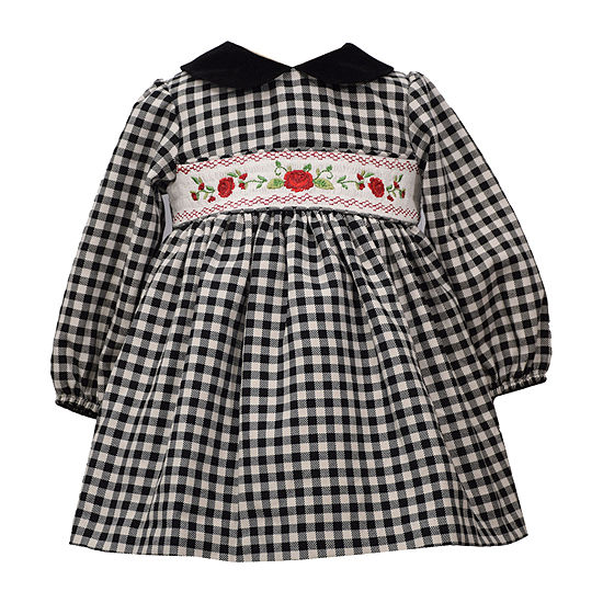 Bonnie Jean Girls Long Sleeve Checked A-Line Dress - Baby
