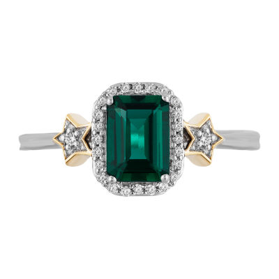 Enchanted Disney Fine Jewelry Womens Lab Created Green Emerald &  1/10 CT. T.W. Diamond 10K Gold Over Silver & Sterling Silver Tinker Bell Cocktail Ring
