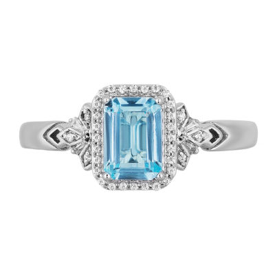 "Enchanted Disney Fine Jewelry ""Frozen 2"" Womens 1/10 CT. T.W. Genuine Blue Topaz Sterling Silver Disney Princess Cocktail Ring"