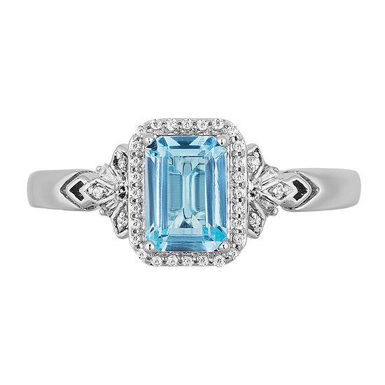 "Enchanted Disney Fine Jewelry ""Frozen 2"" Womens 1/10 CT. T.W. Genuine Blue Topaz Sterling Silver Disney Princess Cocktail Ring"