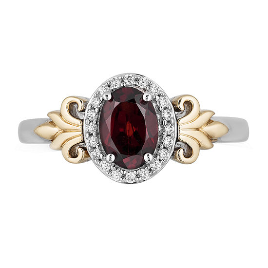 "Enchanted Disney Fine Jewelry ""Frozen 2"" Womens 1/10 CT. T.W. Genuine Red Garnet 10K Gold Over Silver Disney Princess Cocktail Ring"