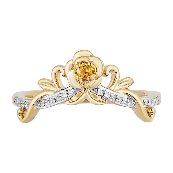 Womens Diamond Accent Genuine Yellow Citrine 10K Gold Crown Belle Cocktail Ring