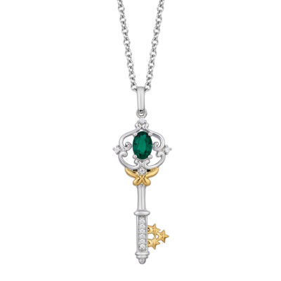 Enchanted Disney Fine Jewelry Womens Diamond Accent Lab Created Green Emerald 14K Gold Over Silver Sterling Silver Keys Tinker Bell Pendant