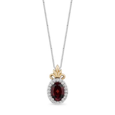 "Enchanted Disney Fine Jewelry ""Frozen 2"" Womens 1/10 CT. T.W. Genuine Red Garnet 10K Gold Over Silver Disney Princess Pendant Necklace"