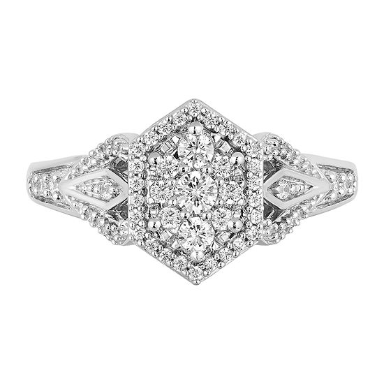 Enchanted Disney Fine Jewelry Womens 1/2 CT. T.W. Genuine Diamond 10K White Gold Round Disney Princess Promise Ring
