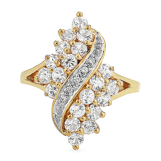 Diamonart Womens Simulated White Cubic Zirconia 18K Gold Over Silver Cluster Cocktail Ring