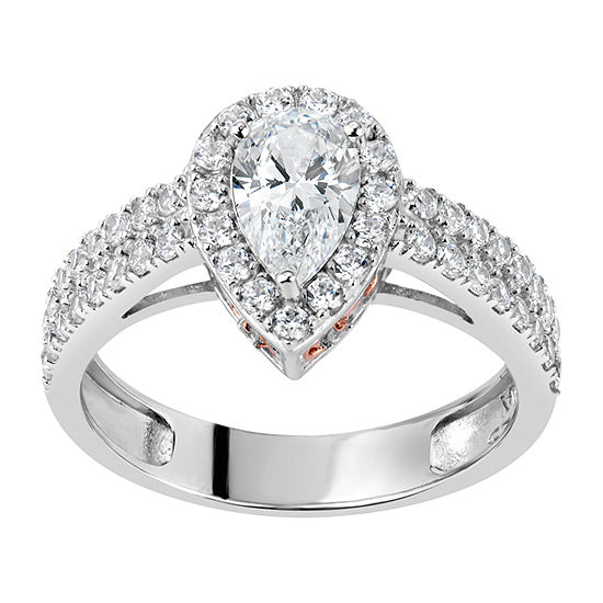DiamonArt® Swarovski 125th Celebration Collection Womens Simulated White Cubic Zirconia 18K Rose Gold Over Silver Pear Halo Engagement Ring