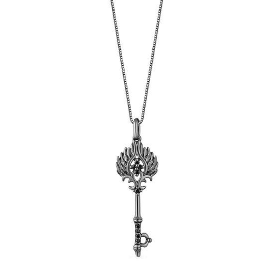 Enchanted Disney Fine Jewelry Villains Womens Diamond Accent Genuine Black Diamond Sterling Silver Keys Maleficent Pendant Necklace