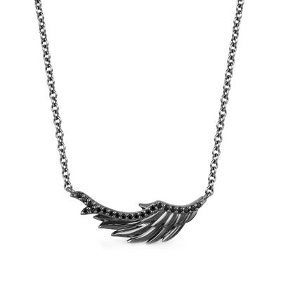 Enchanted Disney Fine Jewelry Villains Womens 1/8 CT. T.W. Genuine Black Diamond Sterling Silver Wing Maleficent Pendant Necklace