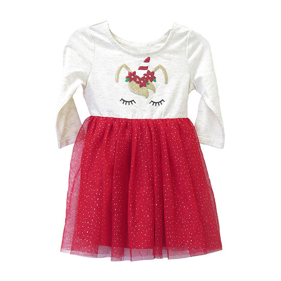 Lilt Girls 3/4 Sleeve Tutu Dress - Toddler