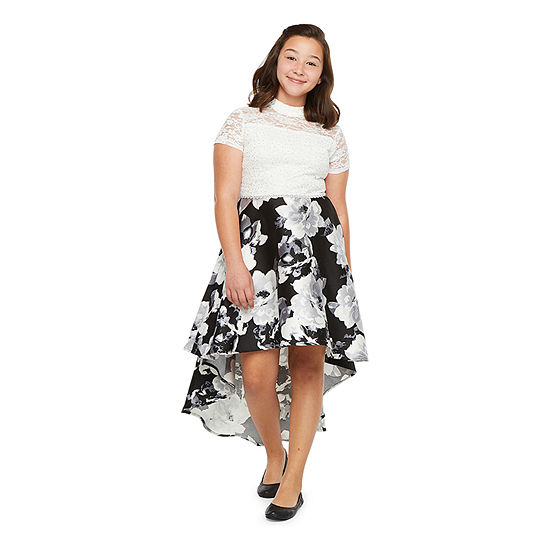 Speechless Embellished Short Sleeve Party Dress - Big Kid Girls Plus