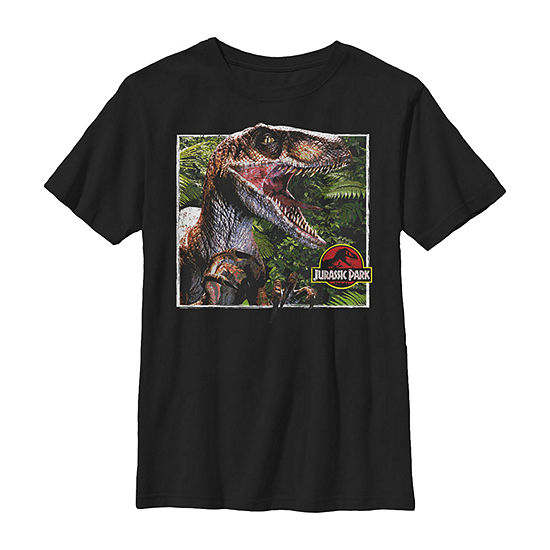 Raptor Coming Out Of Forest Little & Big Boys Crew Neck Jurassic World Slim Short Sleeve T-Shirt