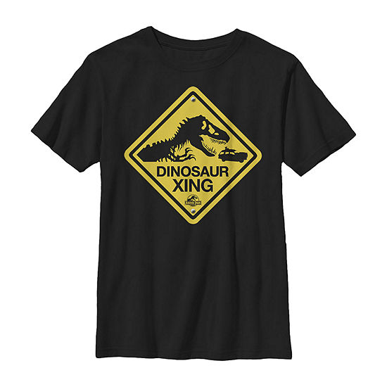 Dinosaur Crossing Yellow Sign Little & Big Boys Crew Neck Jurassic World Slim Short Sleeve T-Shirt