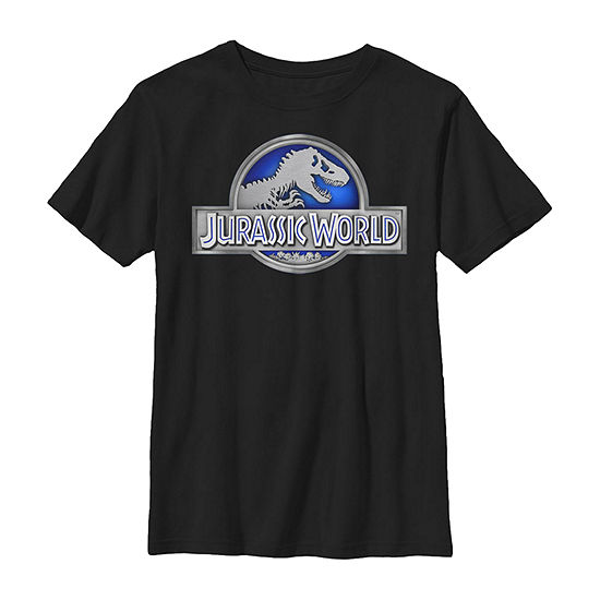 Classic Blue Glow Fossil Logo Little & Big Boys Crew Neck Jurassic World Slim Short Sleeve T-Shirt