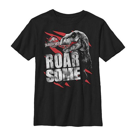Roarsome T-Rex Red Slashed Little & Big Boys Crew Neck Jurassic World Slim Short Sleeve T-Shirt