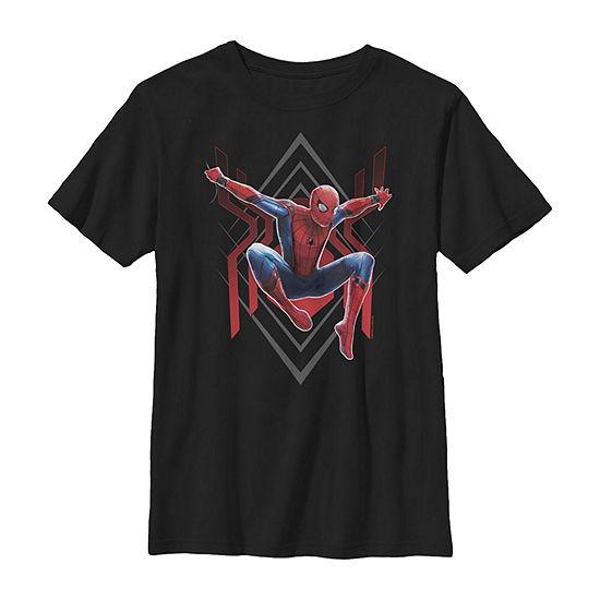 Spider-Man Far From Home Geometric Jumping Portrait Boys Crew Neck Short Sleeve Marvel T-Shirt Preschool / Big Kid Slim