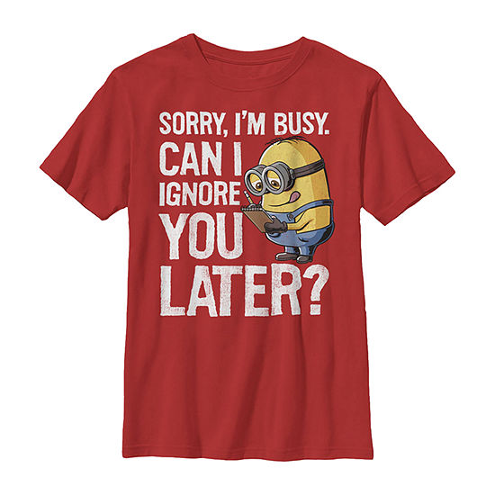 Minions Can I Ignore You Later Boys Crew Neck Short Sleeve Despicable Me T-Shirt Preschool / Big Kid Slim