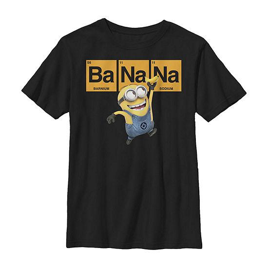 Minions Banana Elemental Square Happy Portrait Little Kid / Big Kid Boys Slim Short Sleeve Despicable Me T-Shirt