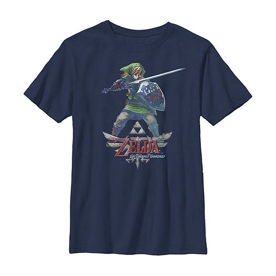 Legend Of Zelda Skyward Sword Link Ready For Battle Little Kid / Big Kid Boys Slim Short Sleeve T-Shirt